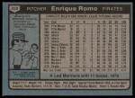 1980 Topps #332  Enrique Romo  Back Thumbnail