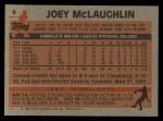 1983 Topps #9  Joey McLaughlin  Back Thumbnail