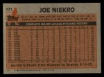 1983 Topps #221  Joe Niekro  Back Thumbnail