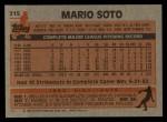 1983 Topps #215  Mario Soto  Back Thumbnail