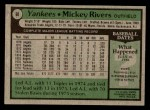 1979 Topps #60  Mickey Rivers  Back Thumbnail