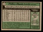 1979 Topps #52  Randy Lerch  Back Thumbnail