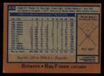 1978 Topps #415  Ray Fosse  Back Thumbnail