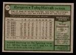 1979 Topps #234  Toby Harrah  Back Thumbnail
