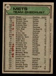 1979 Topps #82   -  Joe Torre Mets Team Checklist Back Thumbnail