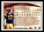 1998 Topps #228  Tony Banks  Back Thumbnail