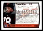 1999 Topps #160  Corey Dillon  Back Thumbnail