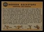 1960 Topps #292   -  Joe Pignatano / John Roseboro Dodger Backstops Back Thumbnail