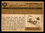 1960 Topps #24  Dick Gray  Back Thumbnail
