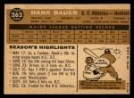 1960 Topps #262  Hank Bauer  Back Thumbnail