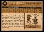1960 Topps #21  Dutch Dotterer  Back Thumbnail