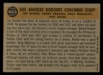 1960 Topps #463   -  Bobby Bragan / Pete Reiser / Joe Becker / Greg Mulleavy Dodgers Coaches Back Thumbnail