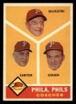 1960 Topps #466   -  Ken Silvestri / Dick Carter / Andy Cohen Phillies Coaches Front Thumbnail