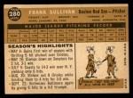 1960 Topps #280  Frank Sullivan  Back Thumbnail
