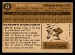1960 Topps #58  Gino Cimoli  Back Thumbnail