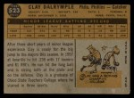 1960 Topps #523  Clay Dalrymple  Back Thumbnail