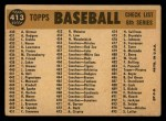 1960 Topps #413   Athletics Team Checklist Back Thumbnail