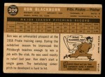 1960 Topps #209  Ron Blackburn  Back Thumbnail