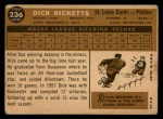 1960 Topps #236  Dick Ricketts  Back Thumbnail