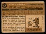 1960 Topps #408  Carl Furillo  Back Thumbnail