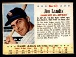 1963 Post Cereal #40  Jim Landis  Front Thumbnail