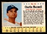 1963 Post #41  Charlie Maxwell  Front Thumbnail