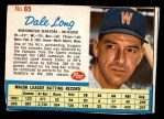 1962 Post Cereal #65  Dale Long   Front Thumbnail