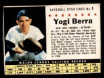 1961 Post Cereal #1 BOX Yogi Berra   Front Thumbnail