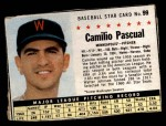 1961 Post Cereal #99 BOX Camilo Pascual   Front Thumbnail