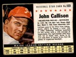 1961 Post #123 BOX Johnny Callison  Front Thumbnail