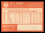 1964 Topps #49  Bill Henry  Back Thumbnail