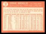 1964 Topps #59  Ernie Broglio  Back Thumbnail