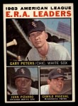 1964 Topps #2   -  Gary Peters / Juan Pizarro / Camilo Pascual AL ERA League Leaders Front Thumbnail