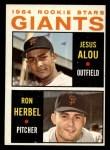 1964 Topps #47   -  Jesus Alou / Ron Herbel Giants Rookies Front Thumbnail