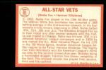 1964 Topps #81   -  Nellie Fox / Harmon Killebrew All-Star Vets Back Thumbnail