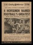 1954 Topps Scoop #110   Notre Dame's 4 Horsemen Back Thumbnail