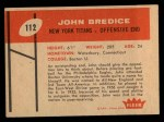 1960 Fleer #112  John Bredice  Back Thumbnail