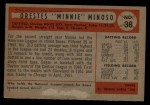 1954 Bowman #38 3B Minnie Minoso  Back Thumbnail