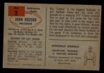 1954 Bowman #2  John Huzvar  Back Thumbnail