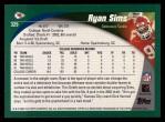 2002 Topps #329  Ryan Sims  Back Thumbnail