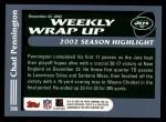 2003 Topps #306   -  Chad Pennington Weekly Wrap-Up Back Thumbnail