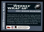 2003 Topps #301   -  Donovan McNabb Weekly Wrap-Up Back Thumbnail