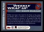 2003 Topps #309   -  Steve McNair Weekly Wrap-Up Back Thumbnail