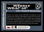 2003 Topps #310   -  Rich Gannon Weekly Wrap-Up Back Thumbnail