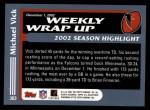 2003 Topps #303   -  Michael Vick Weekly Wrap-Up Back Thumbnail