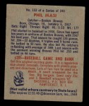 1949 Bowman #153  Phil Masi  Back Thumbnail