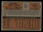 1972 Topps #783  Les Cain  Back Thumbnail