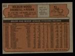 1972 Topps #553  Wilbur Wood  Back Thumbnail