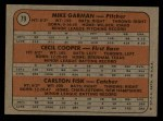 1972 Topps #79   -  Carlton Fisk / Cecil Cooper / Mike Garman Red Sox Rookies Back Thumbnail