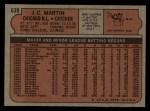 1972 Topps #639  J.C. Martin  Back Thumbnail